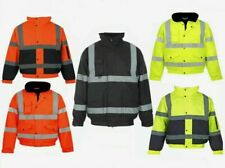 Mens High Visibility Bomber Padded Concealed Hoodeded Work Jacket