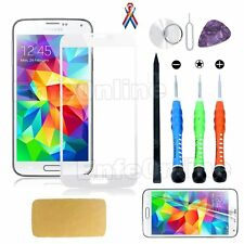 Replacement Outer Front Screen Glass Lens White For Samsung Galaxy S5 / Tool Kit