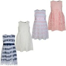 Girls Casual Lace Chiffon Stripy Dress Kids Sleeveless Butterfly Dress 3-12 Y