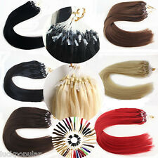 "16""18""20""Double Silicone Micro Ring Beads Loop Remy Human Hair Extensions 7A1G/S"