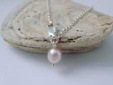 Sterling Silver Anklet, Ankle Bracelet, Ankle Chain with Pink Freshwater Pearl