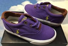 Polo Ralph Lauren Girls Vaughn Lilac Lace Canvas Sneaker Toddler Size 6.5 to 12
