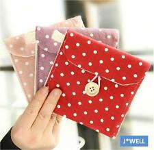 Polka Dot Button Cotton Envelop Purse Wallet Hand Sanitary Napkin Storage Bag