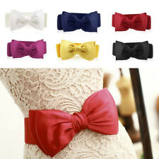 Fashion Women Elastic Wide Stretch Buckle Bowknot Bow Waistband Waist Belt WS