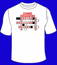 Zombie Crossword Puzzle T-Shirt. Funny Zombies The Walking Dead Brains Blood
