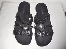 MINNETONKA SOFT BLACK LEATHER ORAMENTED WOMEN'S SLIDES SANDALS, 7M, BARELY WORN!