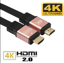 Flat Premium HDMI V2.0 Cable HDTV LED LCD PS4 3D 2160P 4K@2K BLURAY 18GBPS NEW