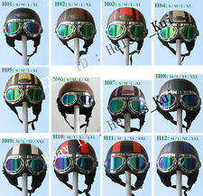 New Leather Motorcycle half face Capacete Open Face Half Helmets Goggles Visor