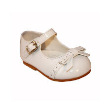 BUY BABY TODDLER INFANT GIRL SPANISH WHITE PATENT BOW PARTY WALKING SHOES UK 2-5
