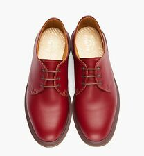 DR MARTENS 1461 3-Eye Leather Steed Oxfords Shoes Red MADE IN ENGLAND doc SZ 13