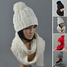 New Women Fashion Winter Acrylic Scarf + Hat Set Wool Scarves Hat Piece Fitted