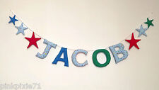 NAME GARLAND Baby Nursery BUNTING Fabric Star Alphabet Letter BANNER Blue Boys