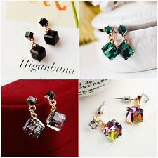 Trendy Girl Charming Square Shaped Crystal Cubic Earrings Ear Stud Jewellery