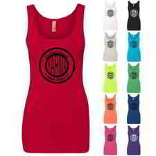 Karma: What Goes Around Comes Around Badge Graphic Fitted Womens Tank Tops