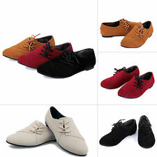 New Loafers Nubuck Leather Flat Shoes Summer Lace up Women Casual Shoes Ballet