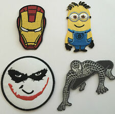JOKER SPIDERMAN IRON MAN MINIONS Embroidered cloth Patches sew on or iron on