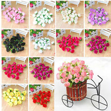 100pcs Roses Artificial Silk Flower Heads Party Wedding Home Decor Wholesale ^^.