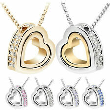 Womens Heart Crystal Charm Pendant Chain Necklace Silver Plated Fashion Jewelry