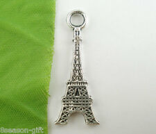 Gift Wholesale Silver Tone Eiffel Tower Charms Pendants 32x12mm