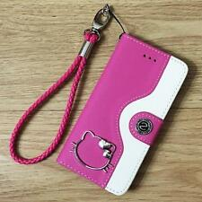 Hello Kitty Wallet Leather Flip Case Handmade Cover For iPhone 5S/SE/6S/ 7 Plus