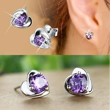 Charming Women Lady Elegant Crystal Rhinestone Ear Stud Earrings Heart Gift 2pcs