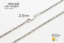 """Gold Authentic 14k Solid White Gold 2.5mm Rope Chain Necklace Size 16""""-36"""""""