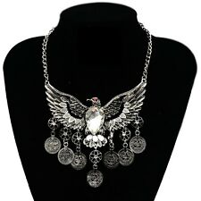 New Women Retro Gold&Silver Alloy Rhinestone Eagle Wing Coin Tassels Necklace