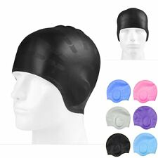 Unisex Adult Silicone Swimming Cap Waterproof Swim Long Hair Cap Hat w/ Ear Cup