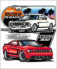 Ford Mustang The Boss is Back Tee Shirt T-Shirt Logo Classic Car