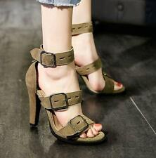 New Womens roma open toe buckle sandals high heels suede ankle strap pumps