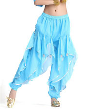 Top Belly Dance Chiffon Silver Trim Rotation Pants Dancing Tribal Harem Costume