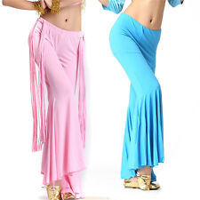 Belly Dance Latin Yoga Pants Sripe Tassels Pants Dancing Tribal Crystal Cotton