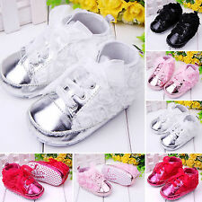 Toddler Baby Kids Girl Non-slip Soft Crib Shoes Lace Floral Sneaker Prewalker
