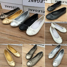 Womens Bow Ballet Flats Dolly Pumps Casual Ballerina Slip On Shoes Size AU 4-8