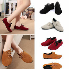 Womens Nubuck Leather Flat Pumps Shoes Lace-up Low Heel Ballet Casual Sneakers