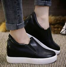 Womens Ladies Hidden Wedge Heels Faux Leather Pull On Casual Shoes pumps loafer