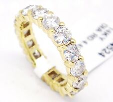 14k Yellow Gold,SI2ct,G-H 4.43ct Diamonds 4mm Prong Set Eternity Band Ring,6.25