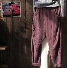 Vintage Womens Cotton Linen Loose Style Casual Harem Pants cropped Trousers