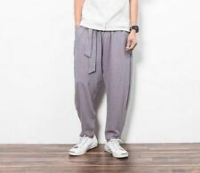 Chinese Men's loose linen breathable casual harem pants cropped trousers
