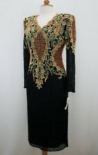 Jasdee Vintage Dress Long Sleeve Bead & Sequins Hand Work On Silk Style 6010