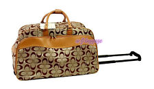 "22"" rolling duffle bag carry on luggage travel bag in-line skate wheels (Khaki)"