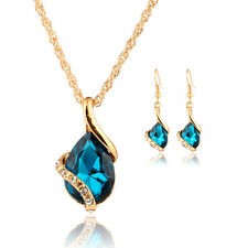 Women's Water Drop Crystal Necklace Matching Earrings Sets Gold Plated Jewelry