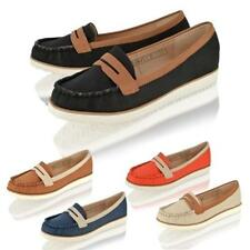 WOMENS LADIES FLAT CASUAL LOAFERS SLIP ON PUMPS COMFORT BOAT DECK SHOES SIZE 3-8
