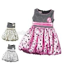 Baby Girl Toddlers Kids Tutu Floral Princess Party Polka Dots Tulle Ruffle Dress