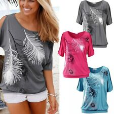 Women Summer T Shirt Short Sleeve Feather Printed Loose Tops Casual Blouse Shirt