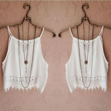 Womens Summer Sleeveless Lace Vest Tank Tops Sexy Backless shirt Blouse Crop Top