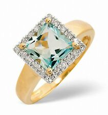 9K Gold 0.17ct Diamond &1.42ct Aquamarine Square Ring Sizes K-S Made in London