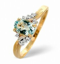 9K Gold 0.03ct Diamond & 0.70ct Aquamarine Ring Size K-S Made in London