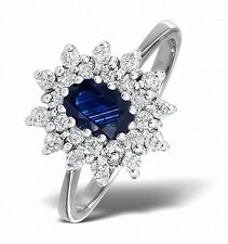 9k White Gold 0.36ctw Diamond & Sapphire Cluster Ring Sizes F-Z Made in London