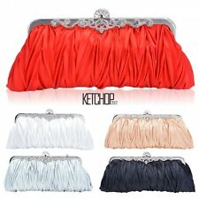 Women Satin Clutch Party Wedding Purse Evening Bag Bridal Handbag Wallet KECP